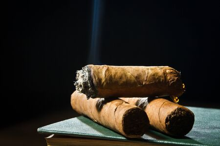 Tree cigars laying on leather book photo