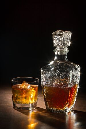 Whisky on ice and glass carafer
