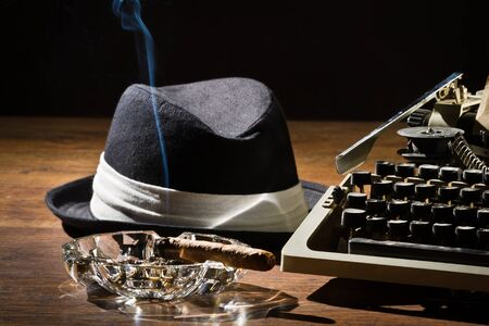 ashtray: Old manual typewriter cigar and hat