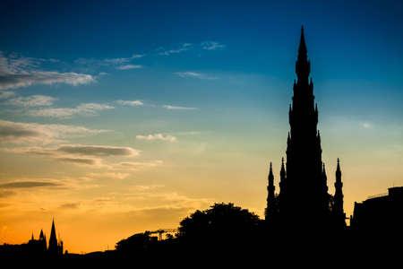 Scott Monument in Edinburgh and summer sunset photo