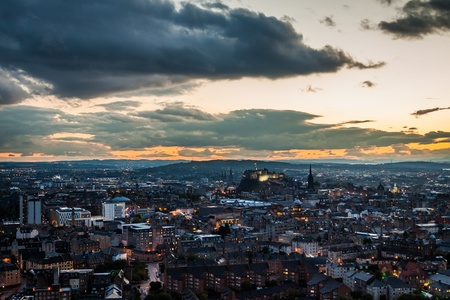 Edinburgh at dusk in the summer photo