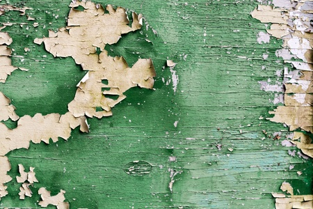 grung: Old green plank with peeling paint Stock Photo