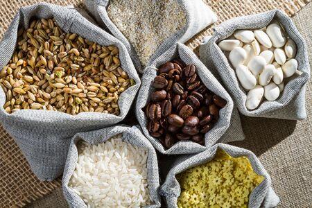 Several ingredients food in cloth bags photo