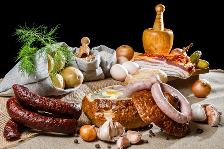 Rural Easter breakfast with smoked sausage Stock Photo - 13139681