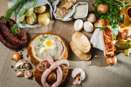 Rural sumptuous table for Easter Stock Photo - 13139619