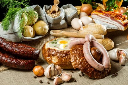 Hot soup in bread for easter breakfast Stock Photo - 13139639