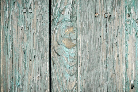 verdigris: Close up old weathered planks with peeling paint Stock Photo