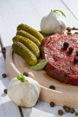 Ingredients for grilled steak with vegetables photo