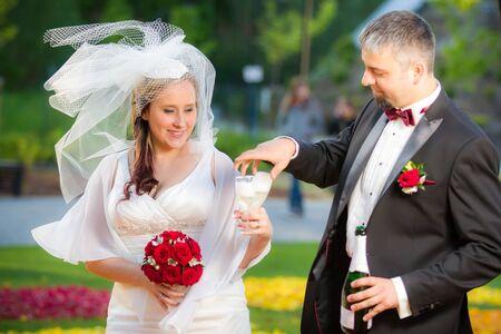 Young couple celebrating wedding Stock Photo - 14119489