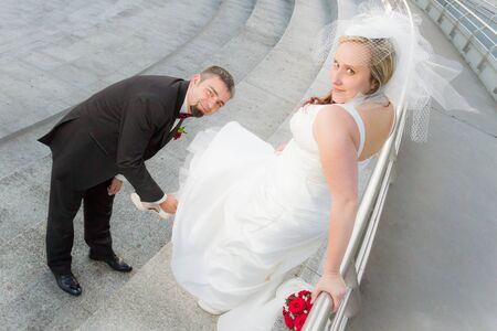 The groom bride wears slipper Stock Photo - 14119480