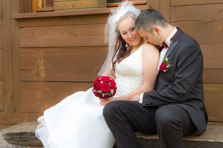 Just Married couple in a romantic scene Stock Photo - 14119191