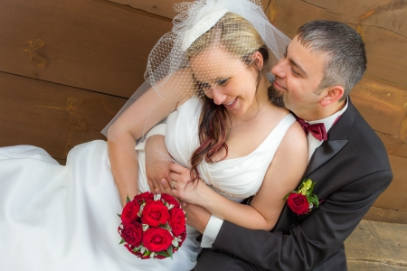 Young couple in a romantic hug Stock Photo - 14119212