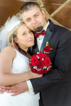 Just married couple in a hug Stock Photo - 14119192