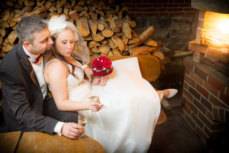 Just Married couple celebrating with champagne Stock Photo - 14119482
