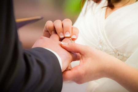 Groom puts ring on brides finger in church photo