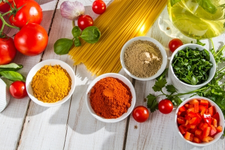 Ingredients and italian cuisine spices photo