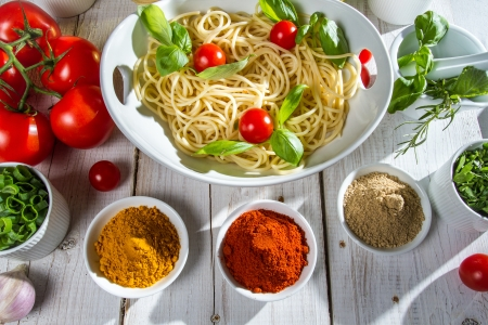 Italian table filled with vegetables photo