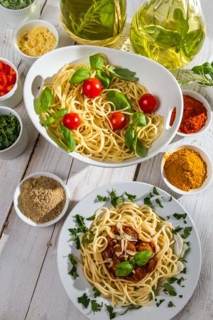Dinner in the style of Italian cuisine photo