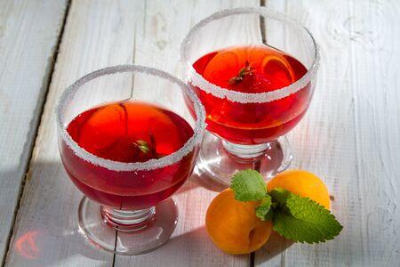 Strawberry-peach dessert with jelly photo