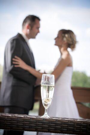 Young couple celebrating wedding ceremonies Stock Photo - 14442993