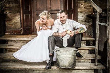 Happy young couple on the old porch Stock Photo - 14443040