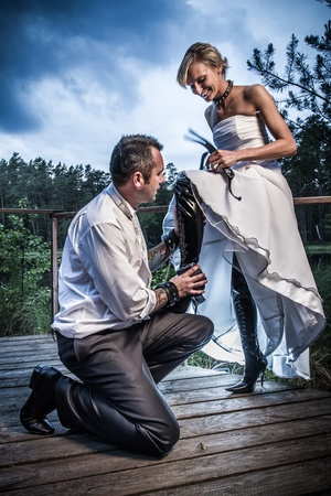 Weird bride and groom session Stock Photo - 14443054
