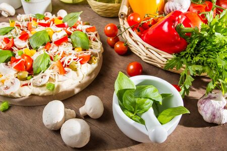 Ingredients for a healthy pizza photo