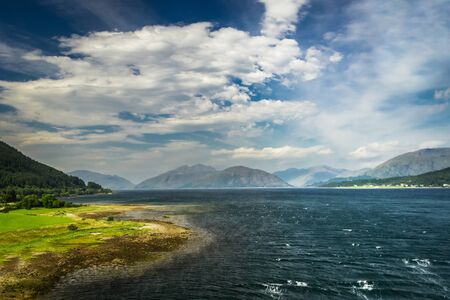 Beautiful view of the Scottish loch and hills photo