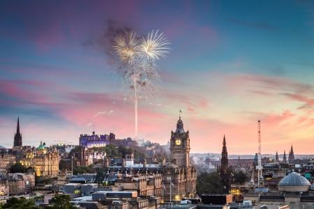 edinburgh: Fireworks over Edinburgh Castle at sunset