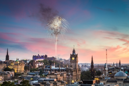 Fireworks over Edinburgh Castle during the Military Tattoo photo