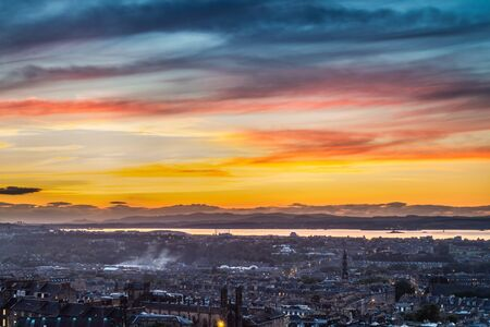 Sunset over the bay in Edinburgh photo
