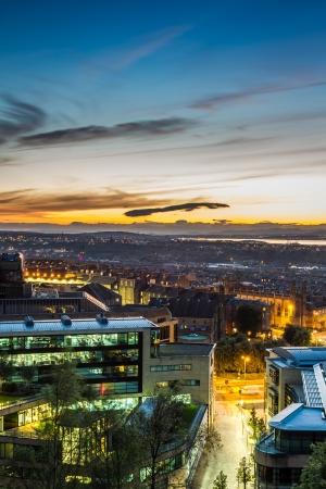 citylight: Sunset over the lighted city Stock Photo