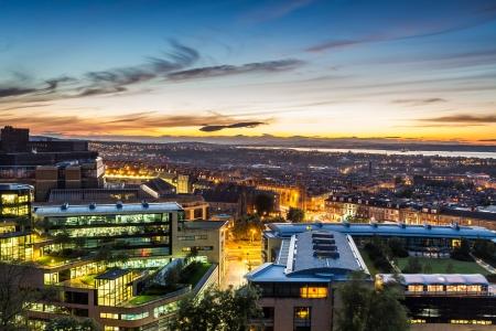 cityscape silhouette: Sunset views over Edinburgh Stock Photo
