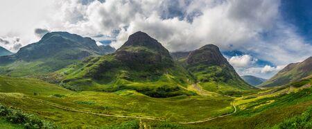 highland region: Big panorama in in the Scotland highlands