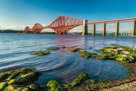 forth: Small bay near Firth of Forth Bridge in Scotland Stock Photo