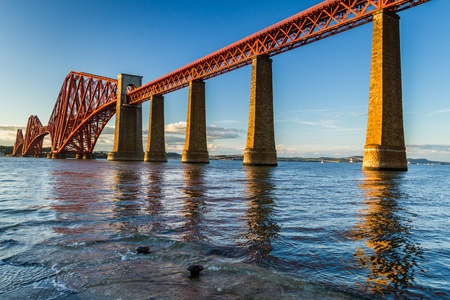 forth: Sunset and Forth Road Bridge in Scotland Stock Photo
