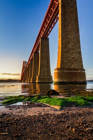 forth: River over Forth Road Bridge at sunset