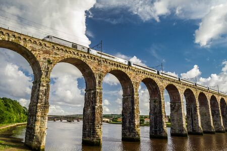 non urban scene: Stone railway bridge between Scotland and England