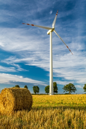 Windmill on the field as a symbol of green energy photo