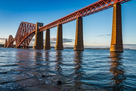 forth: Steel Bridge in Scotland and sunset