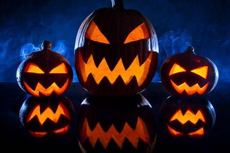 jack o latern: Three pumpkins for Halloween celebration Stock Photo
