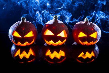 jack o latern: Smoking pumpkins for Halloween holiday