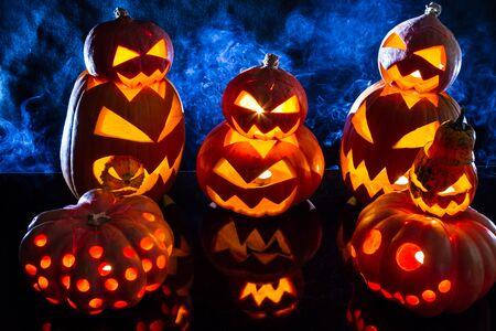 jack o latern: Groups of strange pumpkins for Halloween