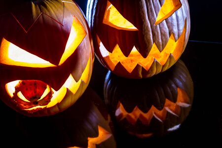 jack o latern: Close-up of two pumpkins for Halloween