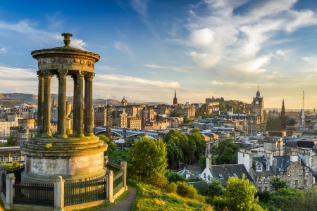 edinburgh: View of the castle from Calton Hill at sunset