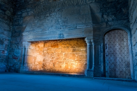 stone fireplace: Cold and warm light in a medieval castle