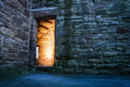 Dramaric light in the ancient castle photo