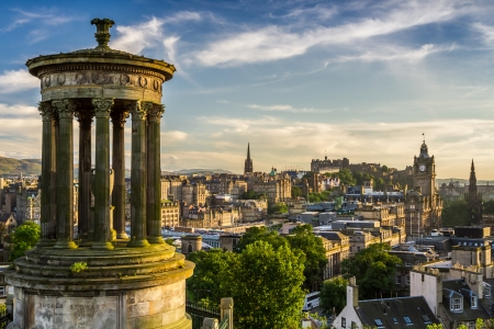 Beautiful view of the city of Edinburgh from Calton Hill photo