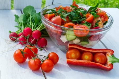 radishes: Salad made from fresh vegetables