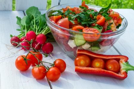 salad: Salad made from fresh vegetables
